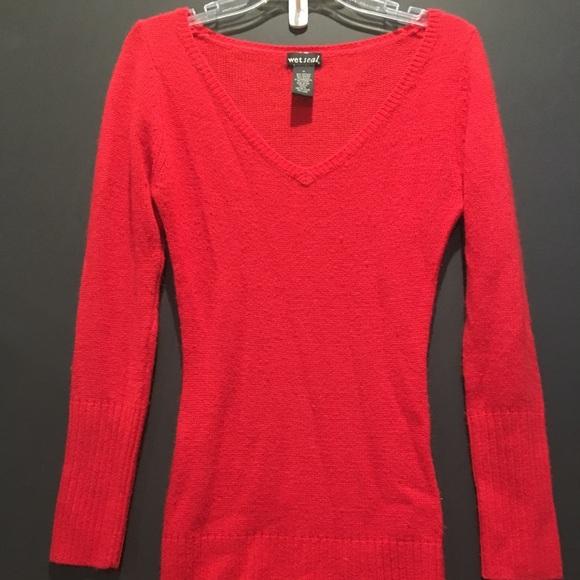 58d6f79b8e Red Wet Seal Tunic Sweater. M 5a7f0eb936b9de82ecc6619a
